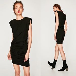 ZARA Dramatic Structured Shoulder Sleeveless Dress